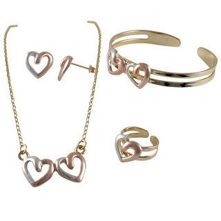 Luxiro Tri-color Gold Finish Heart Earrings Bangle Ring and Necklace Set