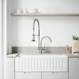VIGO All-in-One 36-inch Matte Stone Farmhouse Kitchen Sink and Dresden Stainless Steel Faucet Set
