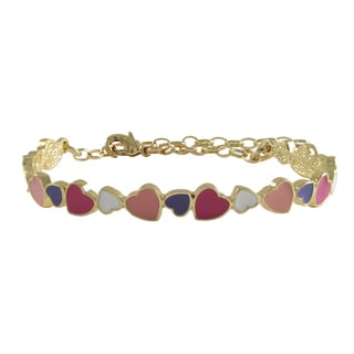 Luxiro Gold Finish Pink and Purple Enamel Hearts Girls Bangle Bracelet
