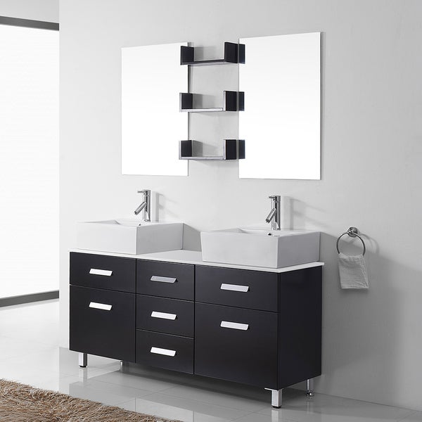 Shop Maybell 56 Inch Espresso Double Vanity White Stone Top Chrome Faucet Free Shipping Today