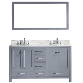 Virtu USA Caroline Avenue 60-inch Double Bathroom Vanity Cabinet Set in Grey