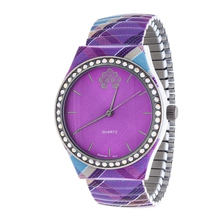 WallFlower Strech Women's Collection with Purple Zig Zag Alloy Strap Cubic Zirconia Watch
