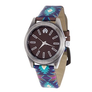 WallFlower Slim Women's Collection with Blue Geo Leather Strap Cubic Zirconia Watch