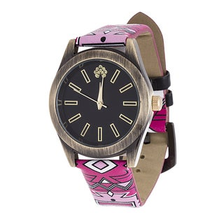 WallFlower Slim Women's Collection with Pink Geo Leather Strap Cubic Zirconia Watch (Option: Pink)