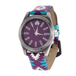 WallFlower Slim Women's Collection with Purple Geo Leather Strap Cubic Zirconia Watch
