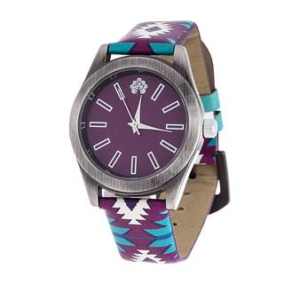 WallFlower Slim Women's Collection with Purple Geo Leather Strap Cubic Zirconia Watch