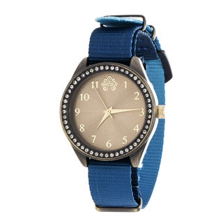WallFlower Slim Women's Collection with Blue Nylon Strap Cubic Zirconia Watch
