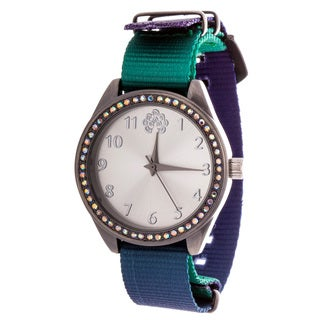 WallFlower Slim Women's Collection with Green Nylon Strap Cubic Zirconia Watch