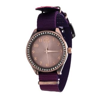 WallFlower Slim Women's Collection with Purple Nylon Strap Cubic Zirconia Watch