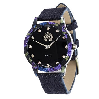 WallFlower Slim Women's Collection Flower Ring Case with Black Jeans Strap Watch