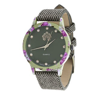 WallFlower Slim Women's Collection Flower Ring Case with Green Jeans Strap Watch