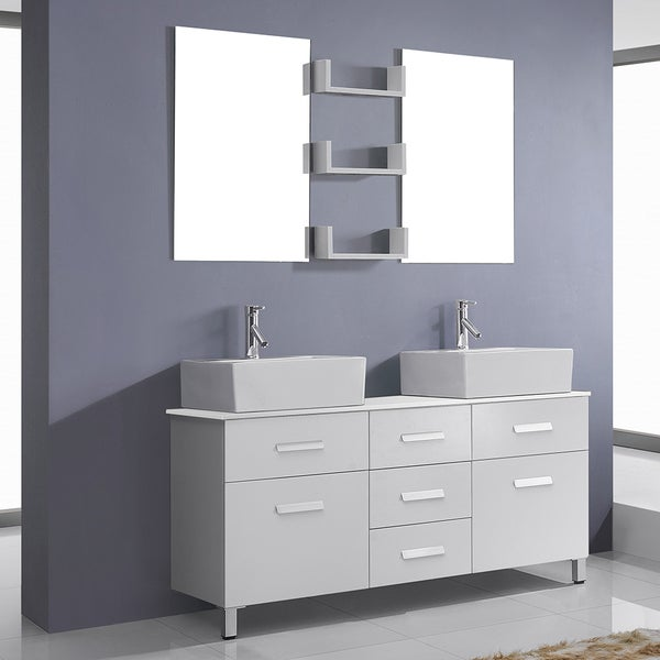 Virtu USA Maybell 56 Inch Double Bathroom Vanity Cabinet Set In White