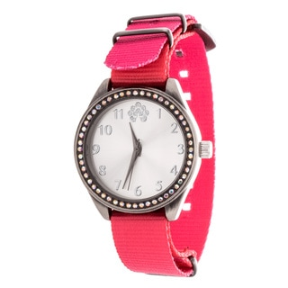 WallFlower Slim Women's Collection with Pink Nylon Strap Cubic Zirconia Watch