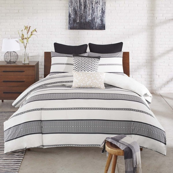 Ink+Ivy Kora Striped Cotton 3-piece Duvet Cover Set