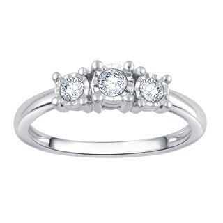 Divina Silver 1/4ct TDW 3-stone Engagement Ring