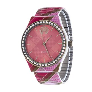 WallFlower Strech Women's Collection with Pink Zig Zag Alloy Strap Cubic Zirconia Watch