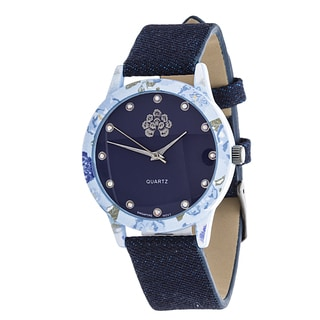 WallFlower Slim Women's Collection Flower Ring Case with Blue Jeans Strap Watch