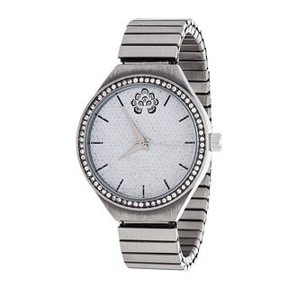WallFlower Strech Women's Collection with Silver Alloy Strap Cubic Zirconia Watch