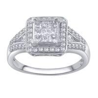 Divina 10k White Gold 3/4ct TDW Round and Princess Diamond Anniversary Ring