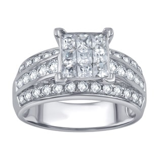 Divina 10k White Gold 1 1/2ct TDW Round and Princess Diamond Anniversary Ring