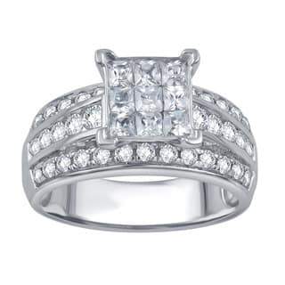 Divina 10k White Gold 1 1/2ct TDW Round and Princess Diamond Anniversary Ring|https://ak1.ostkcdn.com/images/products/11460529/P18417995.jpg?impolicy=medium
