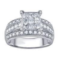 Divina 10k White Gold 1 1/2ct TDW Round and Princess Diamond Anniversary Ring