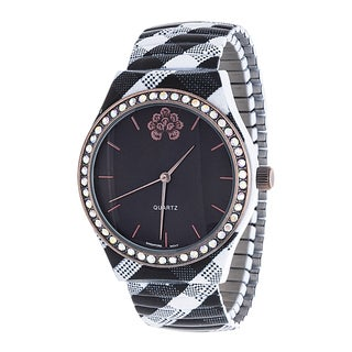 WallFlower Stretch Women's Collection with balck Zig Zag Alloy Strap Cubic Zirconia Watch