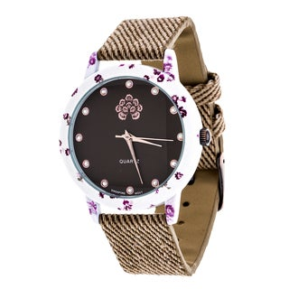 WallFlower Slim Women's Collection Flower Ring Case with Brown Jeans Strap Watch