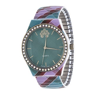 WallFlower Stretch Women's Collection with balck Zig Zag Alloy Strap Cubic Zirconia Watch