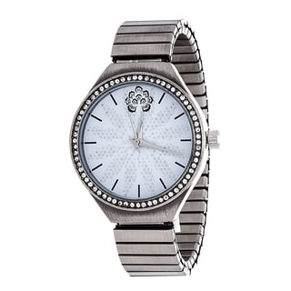 WallFlower Strech Women's Collection with Gun Silver Alloy Strap Cubic Zirconia Watch