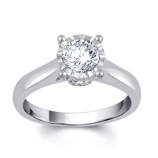 Divina 14k White Gold 1ct TDW Diamond Solitaire Engagement Ring (I-J, I2-I3)