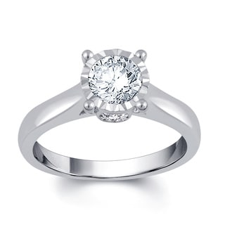 Divina 14k White Gold 1ct TDW Diamond Solitaire Engagement Ring
