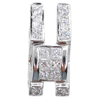 Kabella 18k White Gold 2/5ct TDW Princess and Round Diamond Simple Geo Pendant (G-H, SI1-SI2)