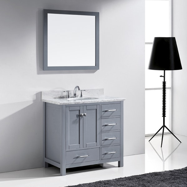 Virtu usa caroline avenue 36 inch single bathroom vanity for Virtu usa caroline 36 inch single sink bathroom vanity set