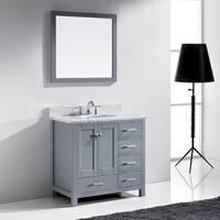 Caroline Avenue Grey 36-in Single Vanity White Marble Top Mirror