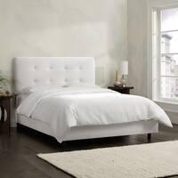 Skyline Furniture White Velvet Tufted Bed