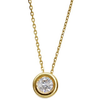 Kabella 14K Yellow Gold 1/2ct TDW Round Diamond Solitaire Pendant (G-H, SI1-SI2)