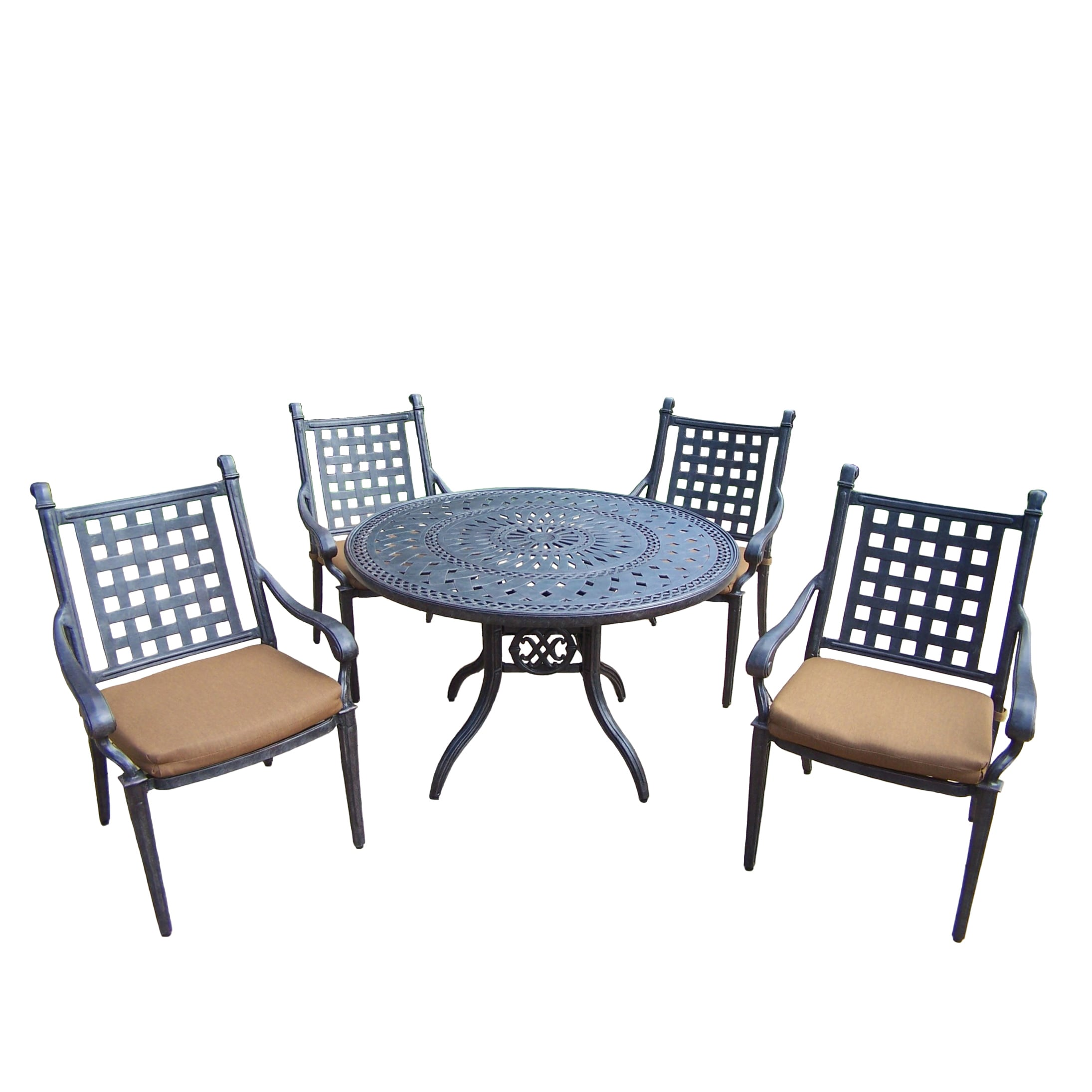 Dining Set With 46 Inch Table 4 Stackable Chairs And Cushions