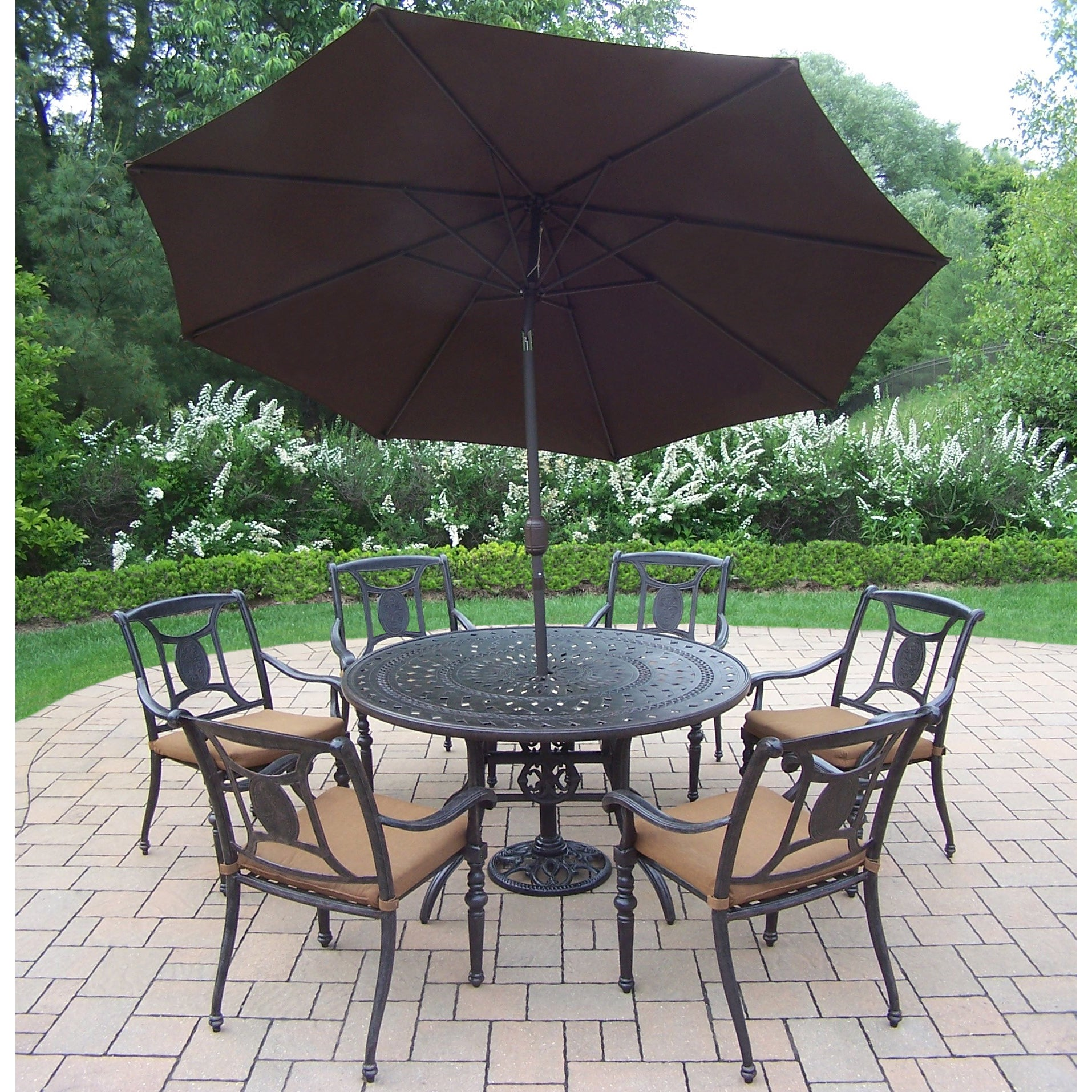 9 Pc Dining Set, with Table, 6 Stackable Chairs, Umbrella and Stand (9 Pc Dining Set Table, 6 Chairs, Umbrella w/ Stand)