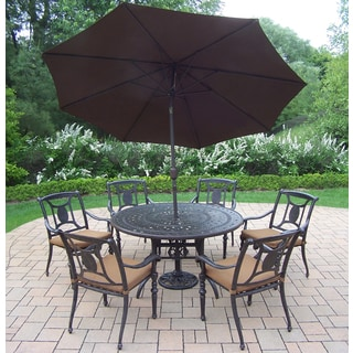 Sunbrella Aluminum 9-piece Dining Set includes 54-inch Table, 6 Stackable Chairs with Sunbrella Cushions, Umbrella, and Stand