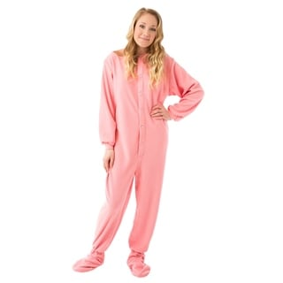 Big Feet PJ's Unisex Pink Fleece Unisex Adult Footed Pajamas with Drop Seat