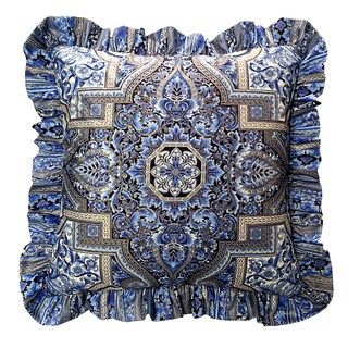 Aegean Blue Gold Ruffled Square Accent Pillow