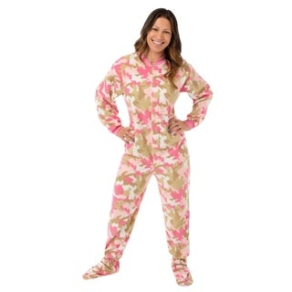 Pink Camouflage Fleece Footed One-piece Pajamas with Drop Seat by Big Feet Pajamas