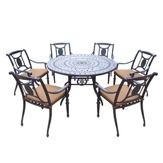 Sunbrella Aluminum 7 Pc Dining Set includes 54in Table, 6 Stackable Chairs, with Mildew Resistant Sunbrella Cushions