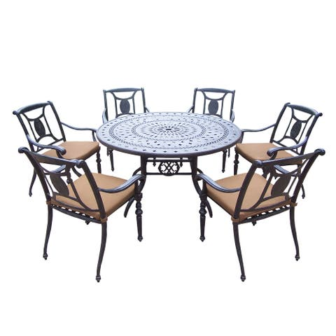 7 pc Dining Set, with Round Table, 6 Stackable Chairs, and Cushions