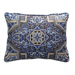 Aegean Welted Blue and Gold Rectangle Pillow
