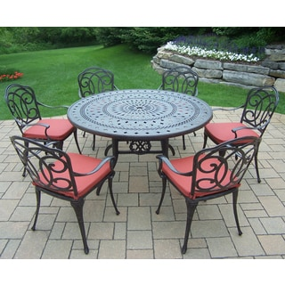 Cast Aluminum 7-piece Dining Set, with Round Table, 6 Chairs, and Durable Polyester Cushions