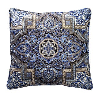 Aegean Blue and Gold Welted Square Pillow