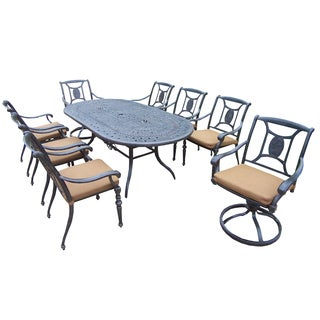 Sunbrella Aluminum 9-piece Dining Set with Table, 6 Stackable Chairs, 2 Swivel Rockers and Mildew Resistant Sunbrella Cushions