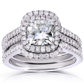 Annello by Kobelli 14k Gold 1 1/10ct Forever One Cushion-cut Moissanite and 3/4ct TDW Diamond Bridal